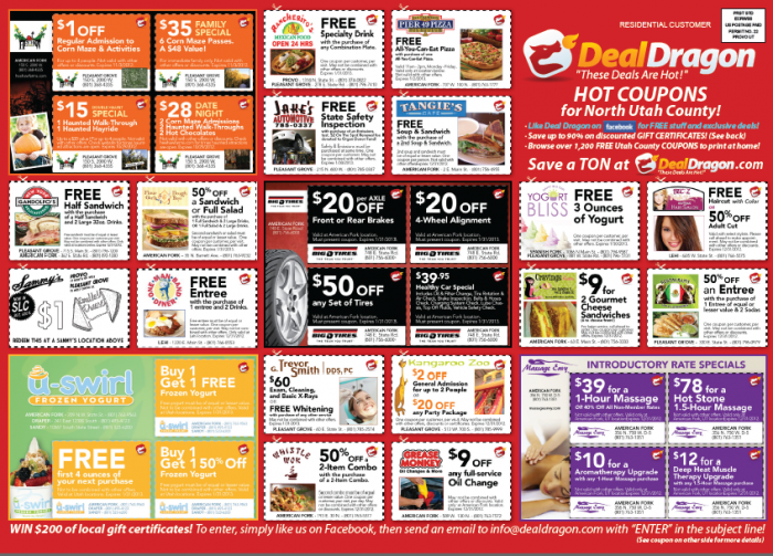 picture relating to At Home Coupons Printable known as Very hot Package Dragon Printable Cafe Coupon codes for Places to eat