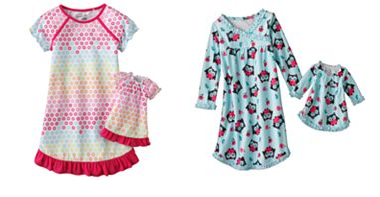 kohl's jumping beans doll and girl nightgown sets