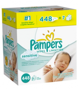 pampers wipes sensitive 267x300 Pampers Sensitive Wipes – 448 Count for $7.78 (1.7¢/wipe)