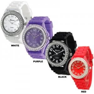 Geneva Platinum Women's Cubic Zirconia Accented Silicone Watches