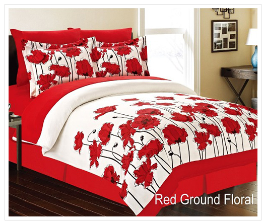 Red Ground Floral bed in a bag