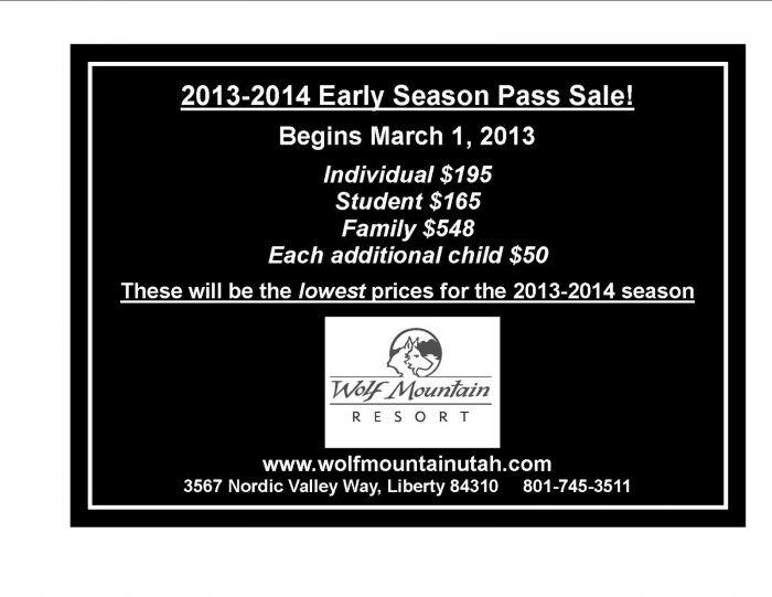 Wolf Mountain Early season pass sale