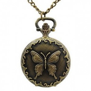 bronze tone butterfly pocket chain necklace watch