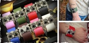 genuine leather owl crystal bracelet