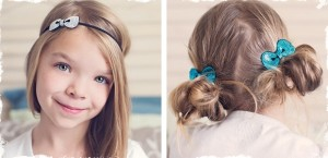 mini retro bow headband or clip