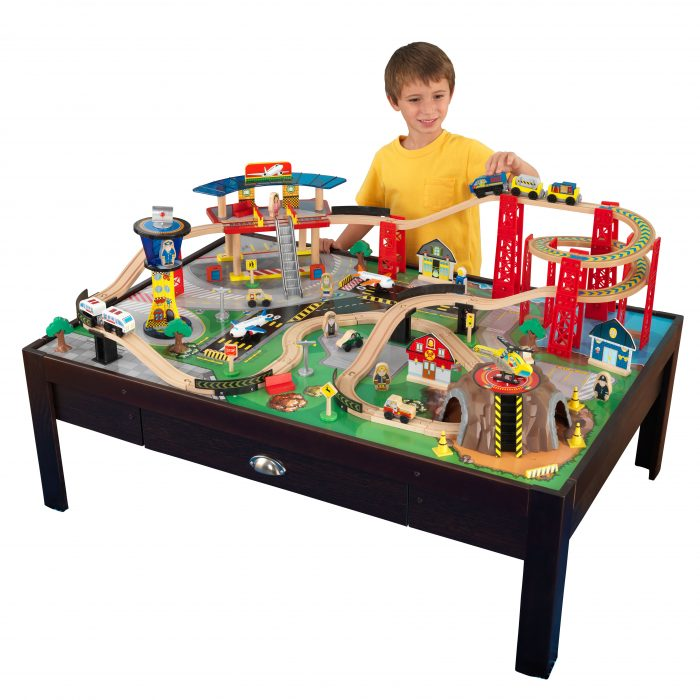 Need to keep those trains off the floor? Check out this super cute KidKraft Airport Train Table with Wooden Train Set for $100.29 (regularly $179.53).  sc 1 st  Utah Sweet Savings & KidKraft Airport Train Table with Wooden Train Set for $100.29 ...