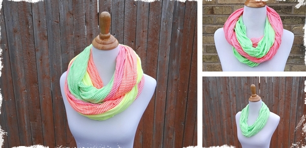 Striped Neon Infinity Scarves