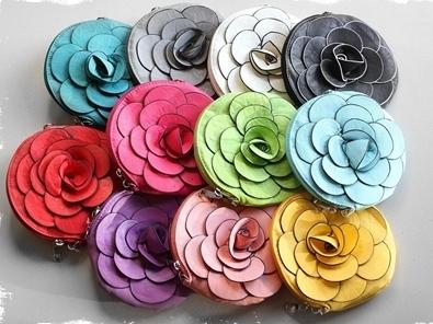 leather flower purses
