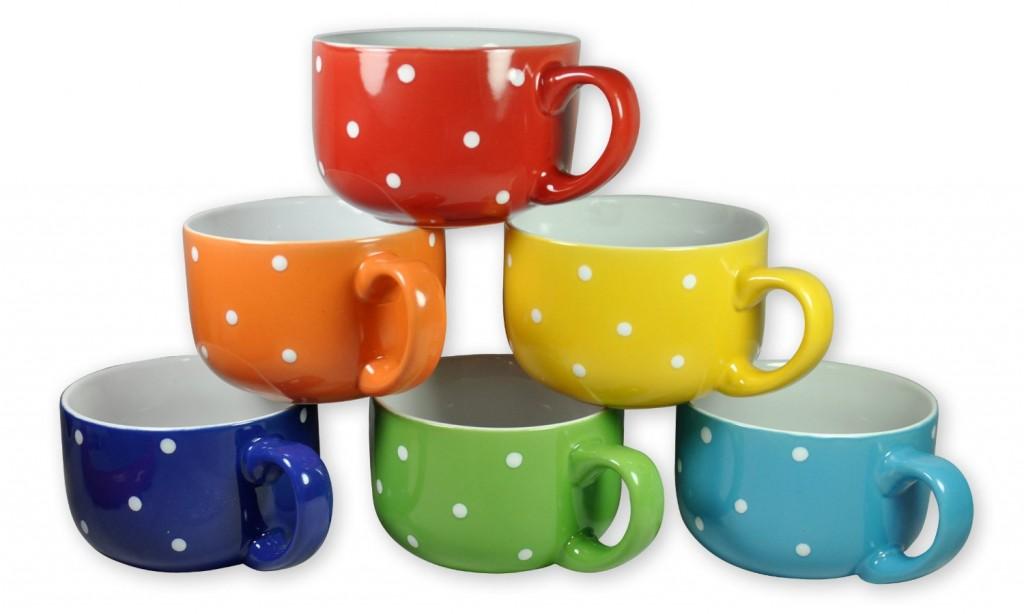 Set Of 6 Large Sized 14 Oz Colored Ceramic Mugs 9 99 Reg