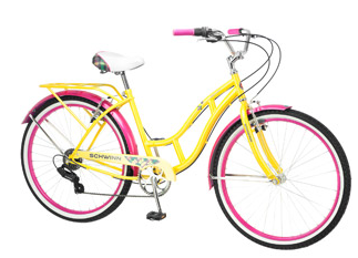 Schwinn Clairmont Womens Cruiser Bike Yellow Pink 26 Schwinn Clairmont Womens Cruiser Bike, Yellow/Pink