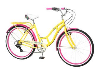 Schwinn Clairmont Women's Cruiser Bike, Yellow Pink