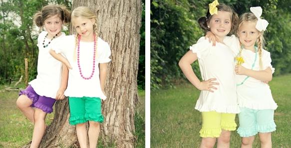 double ruffle 2 Girls Double Ruffle Shorts! $11.99 (16 color options)