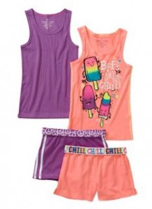 faded glory 4 pack tanks and shorts