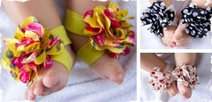frilly baby barefoot sandles