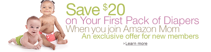 save 20 on first pack of diapers *HOT* Save $20 on a Pack of Diapers with Amazon Mom (New Members)!