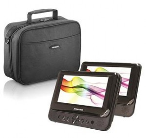 sylvania 7 inch dual screen portable dvd player with dvd bag