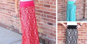 lace over maxi skirt