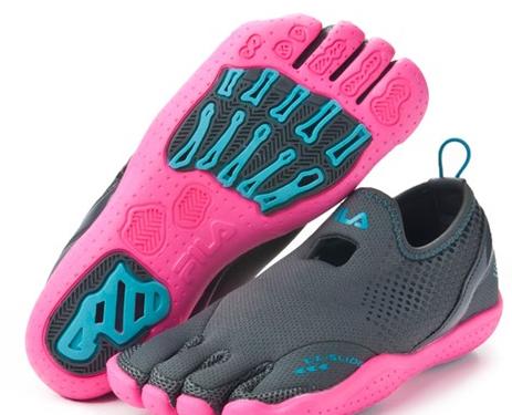 Fila Women's Skele-Toes Amp Slide Shoes - Black/Blue - Polyvore