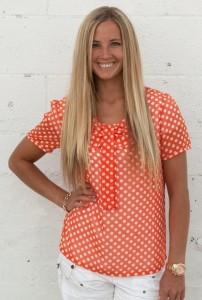 tuxedo bow polka dot blouse