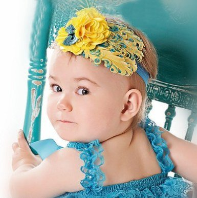 Blue and Yellow Feather Headband