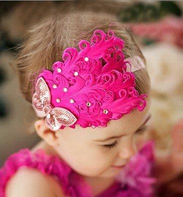 Dark Pink Feather Headband