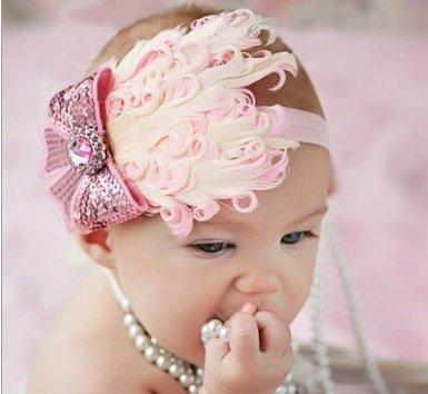 Light Pink Feather Headband