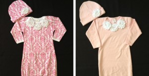baby gown and cap
