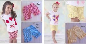 chevron ruffle shorts for girls