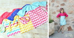 color block chevron girls dress