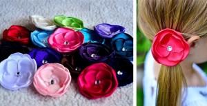 satin flower hair accessories
