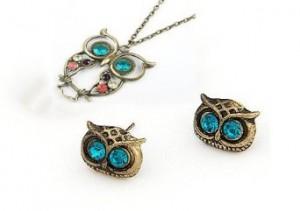 vintage retro art deco owl head charm stud earrings and crystal diamond owl necklace