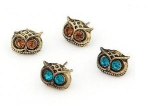 2 pairs art deco owl stud earrings