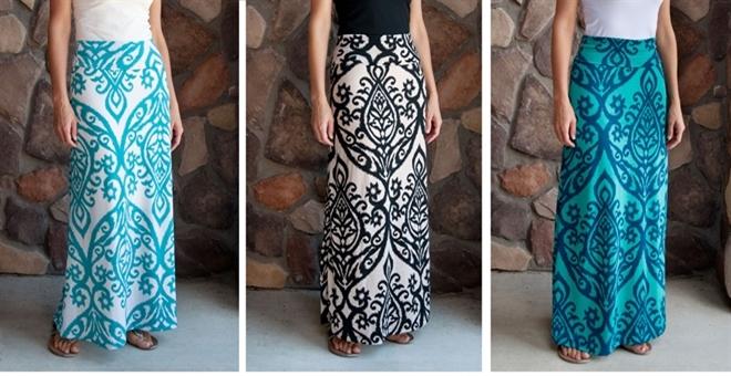 Damask Maxi Skirts
