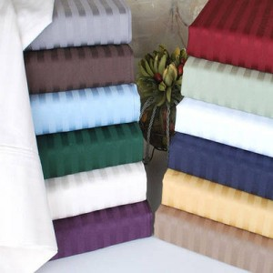 Embossed Dobby Striped Wrinkle Free Deep Pocket Sheet Set