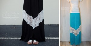lace chevron maxi skirt