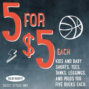 old navy 5 for 5 sale