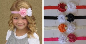 shabby chevron and polka dot headbands