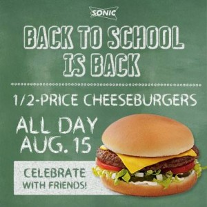 sonic back to school half price burgers