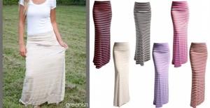 striped maxi skirts