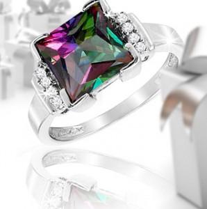 3 carat mystic topaz gemstone princess cut cocktail ring