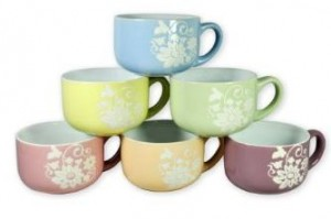 6 large ceramic mugs