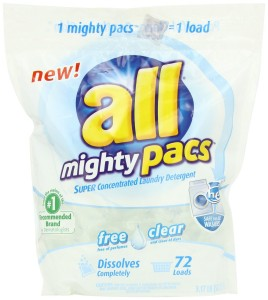 All Mighty Pacs Free Clear Laundry Detergent, 72 Count
