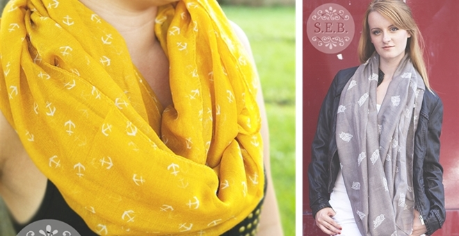 Anchor and Owl Infinity Scarves