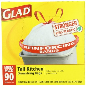 Glad Tall Kitchen Drawstring Trash Bags, 13 Gallon, 90 Count