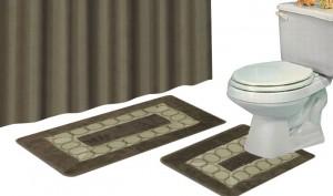 Luxury Home 15-Piece Bath Accessory Set w Shower Curtain, Rug Set & Curtain Hooks