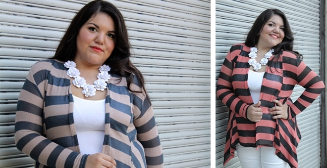 Striped Layering Cardigan Plus Size