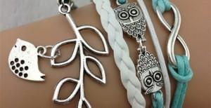 bird branch layered bracelet