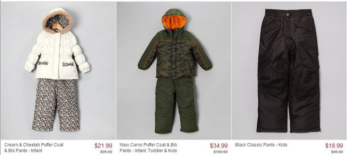 zulily snow coats and pants sale