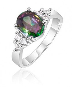 2 Carat Created Mystic Topaz & Crystal Stone Accents Ring
