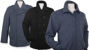 Alpine Swiss Wool Blend Men's Grant Bomber Jacket or Jake Pea Coat in Black or Gray